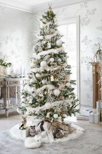 Decorate your fake Christmas tree with all white decorations