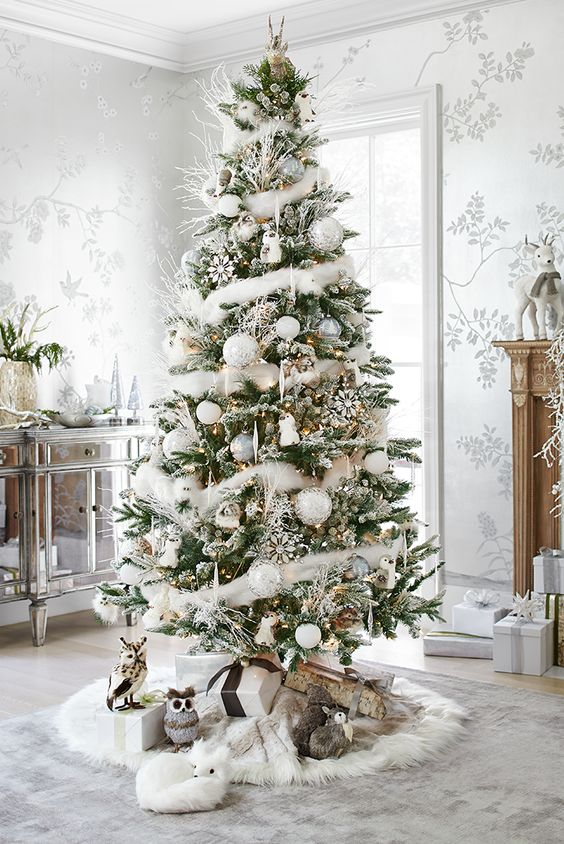decorate your fake christmas tree with all white decorations - Fake White Christmas Tree