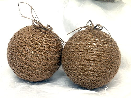 Natural Burlap Assorted Christmas Tree Ornaments Size Style Vary (Large Round (6 Piece))
