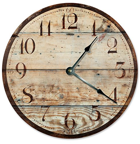 RUSTIC WOOD CLOCK Large 10.5