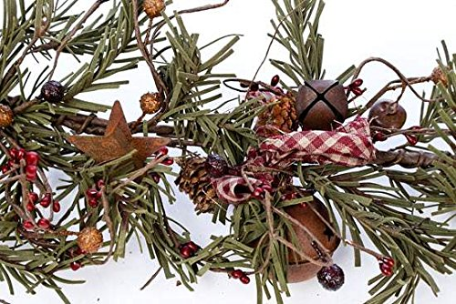 Rustic Winter Pine, Pine Cones, and Pip Berry Garland with Rusty Tin Bells and Homespun Ribbon Accents for Home and Holiday Decor