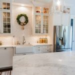 country kitchen farmhouse sink ideas - brick accent wall - white kitchen