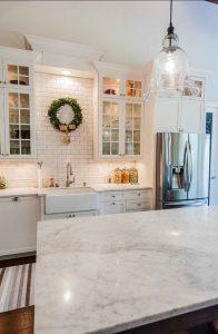 country kitchen farmhouse sink ideas - brick accent wall - white kitchen