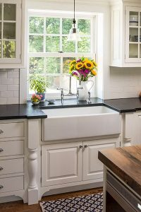 beautiful country kitchen idea love the countertops, backsplash and gorgeous farmhouse sink