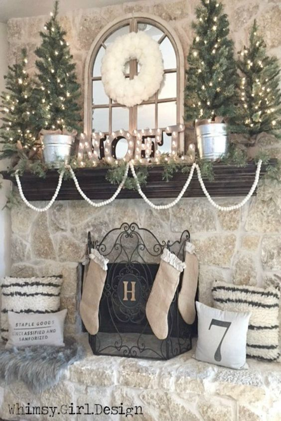 neutral colored Christmas decorations ideas and inspiration
