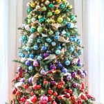artifical tree idea for decorating artificial Christmas trees. What a unique and unusual colorful xmas tree from @involvery