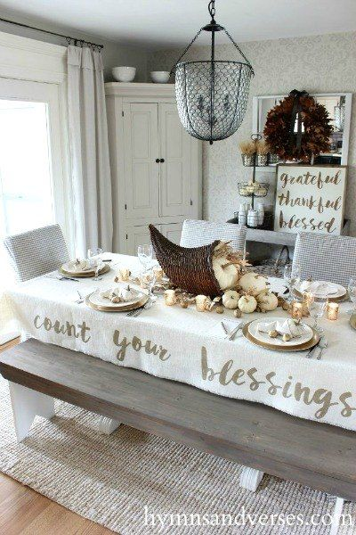 DIY Thanksgiving tablecloth idea