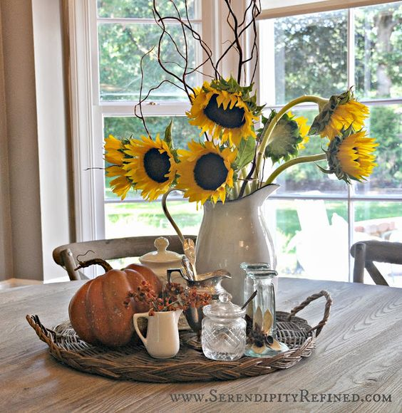country kitchen centerpiece idea for farmhouse kitchen sunflowers