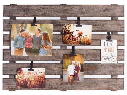 DIY pallet wood projects - clever idea for old reclaimed wood - make a wall picture holder.