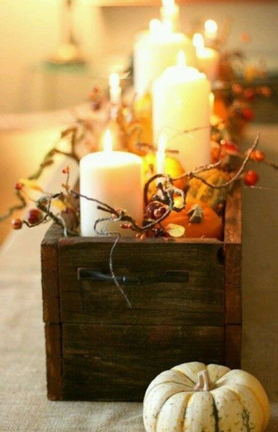 DIY Fall centerpiece idea for ding table - great for Thanksgiving too