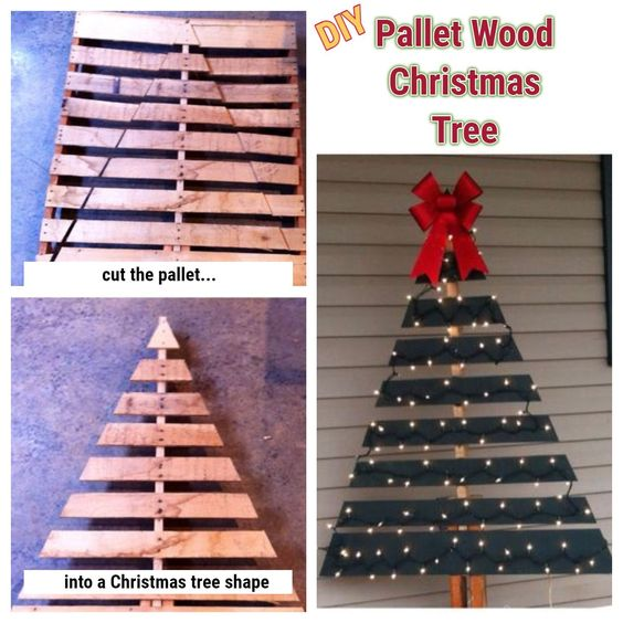 DIY pallet wood Christmas tree #palletprojects #diyhomedecor #homedecorideas #diycrafts #livingroomideas #farmhousedecor #rusticdecorideas #houseideas #bedroomideas #christmasideas