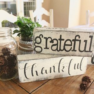 Fall wood rustic signs in my kitchen for Thanksgiving decor and all year long.