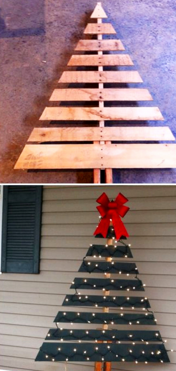 Pallet wood Christmas Tree Ideas - How to make a Chrismtas tree from old pallets