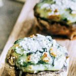 Easy appetizer idea - spinach and cheese stuffed mushrooms. Get the recipe here