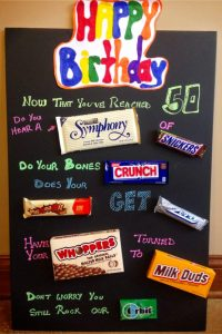Handmade Birthday Gift Ideas! These birthday candy poster ideas are SO easy to make. This candy birthday poster card is perfect for a 50th birthday!