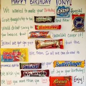 Easy DIY gift ideas - LOVE these birthday candy poster ideas to make for his (or her) birthday party! This is a great candy poster card to give from a group!
