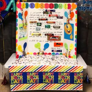 Birthday ideas! I LOVE this candy poster birthday card - it's HUGE and it's an easy birthday party decoration to make for the gift table too!